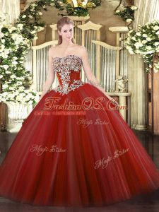 Ideal Sleeveless Beading Lace Up Quinceanera Gown
