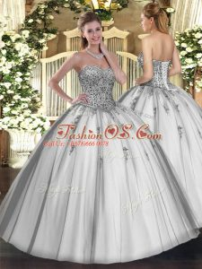 Glorious Grey Sleeveless Floor Length Beading and Appliques Lace Up 15th Birthday Dress