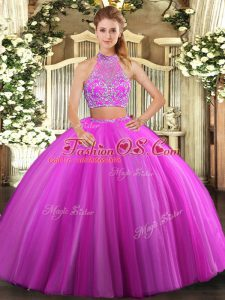 Inexpensive Fuchsia Sleeveless Tulle Criss Cross Sweet 16 Quinceanera Dress for Military Ball and Sweet 16 and Quinceanera