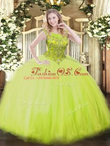 Tulle Scoop Sleeveless Zipper Beading Quinceanera Dresses in Yellow Green