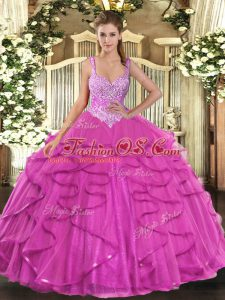 Custom Designed Floor Length Fuchsia Sweet 16 Quinceanera Dress Tulle Sleeveless Beading and Ruffles