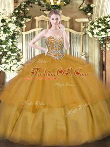 Sophisticated Floor Length Ball Gowns Sleeveless Brown 15th Birthday Dress Lace Up