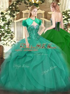 Inexpensive Ball Gowns 15 Quinceanera Dress Turquoise Sweetheart Tulle Sleeveless Floor Length Lace Up