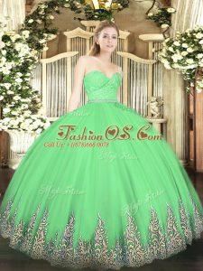 Floor Length Green 15th Birthday Dress Sweetheart Sleeveless Zipper