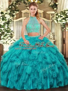 Shining Turquoise Criss Cross Quinceanera Gowns Beading and Ruffles Sleeveless Floor Length