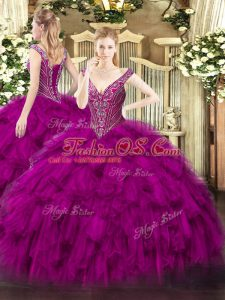 Fuchsia V-neck Neckline Beading and Ruffles Sweet 16 Quinceanera Dress Sleeveless Lace Up