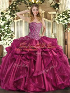 Designer Sleeveless Floor Length Beading and Ruffles Lace Up Quince Ball Gowns with Wine Red
