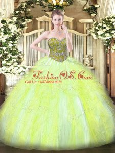 Glittering Beading and Ruffles Vestidos de Quinceanera Yellow Green Lace Up Sleeveless Floor Length