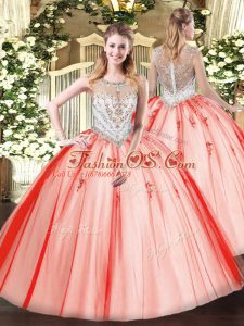Coral Red Scoop Neckline Beading and Appliques Quince Ball Gowns Sleeveless Zipper