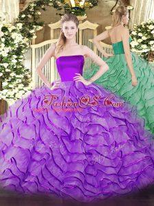 On Sale Ruffles Quinceanera Gowns Eggplant Purple Zipper Sleeveless Brush Train