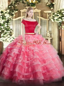 Smart Watermelon Red Short Sleeves Floor Length Appliques and Ruffled Layers Zipper Sweet 16 Dress