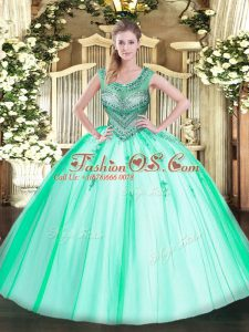 Fantastic Sleeveless Tulle Floor Length Lace Up Quinceanera Dresses in Apple Green with Beading