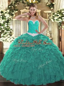 Cheap Sweetheart Sleeveless Sweet 16 Dress Floor Length Appliques and Ruffles Turquoise Organza