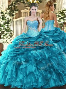 Lovely Floor Length Ball Gowns Sleeveless Teal Quinceanera Gown Lace Up