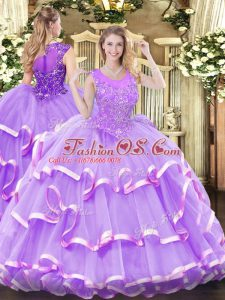 Admirable Lavender Ball Gown Prom Dress Military Ball and Sweet 16 and Quinceanera with Beading and Ruffled Layers Scoop Sleeveless Zipper