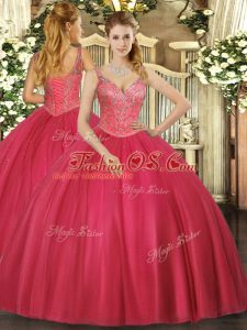 Affordable Red Ball Gowns Beading Vestidos de Quinceanera Lace Up Tulle Sleeveless Floor Length