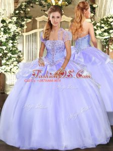 Elegant Sleeveless Organza Floor Length Lace Up Sweet 16 Quinceanera Dress in Lavender with Appliques