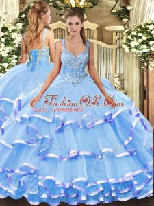 Adorable Straps Sleeveless Organza Quinceanera Dresses Beading and Ruffled Layers Lace Up