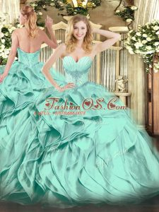 Captivating Floor Length Ball Gowns Sleeveless Turquoise Quince Ball Gowns Lace Up