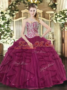 Traditional Sweetheart Sleeveless Tulle Quinceanera Dresses Beading and Ruffles Lace Up