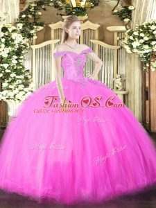 Excellent Fuchsia Off The Shoulder Neckline Beading Quinceanera Dress Sleeveless Lace Up