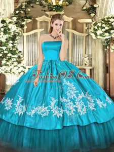 Aqua Blue Organza and Taffeta Zipper Vestidos de Quinceanera Sleeveless Floor Length Embroidery