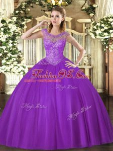 Floor Length Lace Up Quinceanera Dress Eggplant Purple for Sweet 16 and Quinceanera with Beading