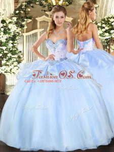 Light Blue Sweetheart Neckline Beading Quince Ball Gowns Sleeveless Lace Up