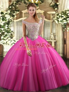 Custom Made Tulle Off The Shoulder Sleeveless Lace Up Beading Vestidos de Quinceanera in Hot Pink