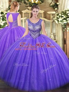Lavender Tulle Lace Up 15 Quinceanera Dress Sleeveless Floor Length Beading