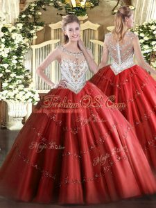 Hot Sale Red Quinceanera Gowns Military Ball and Sweet 16 and Quinceanera with Beading and Appliques Scoop Sleeveless Zipper