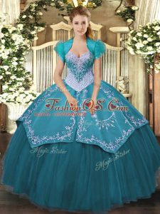 Glittering Sleeveless Lace Up Floor Length Beading and Embroidery Vestidos de Quinceanera