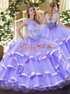 High Quality Floor Length Lavender Quinceanera Gowns Organza Sleeveless Beading and Ruffled Layers