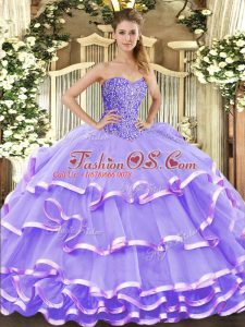 Sleeveless Beading and Ruffled Layers Lace Up Sweet 16 Quinceanera Dress