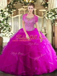 Tulle Sleeveless Floor Length Quinceanera Dresses and Beading and Ruffled Layers