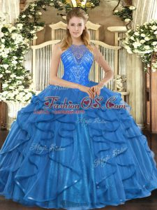 Glittering Floor Length Lace Up Sweet 16 Dress Teal for Military Ball and Sweet 16 and Quinceanera with Beading and Ruffles