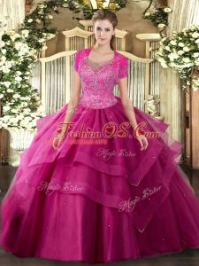 Edgy Hot Pink Ball Gowns Beading and Ruffles Quinceanera Gown Clasp Handle Tulle Sleeveless Floor Length