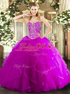 Sleeveless Tulle Floor Length Lace Up Quinceanera Gown in Fuchsia with Beading and Ruffles