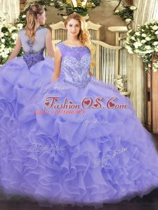 Extravagant Lavender Zipper Quinceanera Dresses Beading and Ruffles Sleeveless