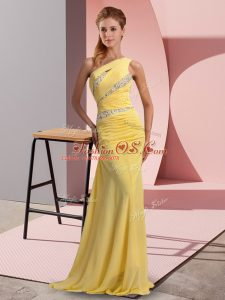 Top Selling Yellow Sleeveless Chiffon Sweep Train Lace Up Party Dress Wholesale for Prom and Party
