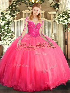 Floor Length Coral Red Quinceanera Gowns Tulle Long Sleeves Lace