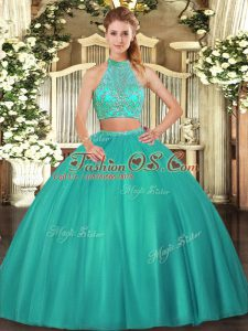 Shining Turquoise Two Pieces Beading Quinceanera Dress Criss Cross Tulle Sleeveless Floor Length