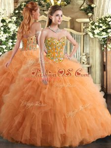 Orange Sleeveless Floor Length Embroidery and Ruffles Lace Up Quince Ball Gowns