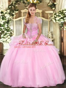 Baby Pink Strapless Neckline Appliques Sweet 16 Dress Sleeveless Lace Up
