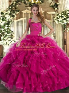 Custom Made Halter Top Sleeveless Tulle 15 Quinceanera Dress Ruffles Lace Up