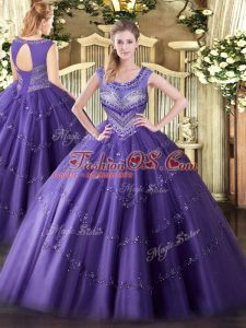 Sleeveless Floor Length Beading and Appliques Lace Up 15th Birthday Dress with Purple