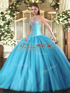 Aqua Blue Sweetheart Lace Up Beading Sweet 16 Quinceanera Dress Sleeveless