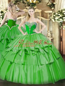 Sweetheart Sleeveless Lace Up Quinceanera Dresses Green Organza and Taffeta