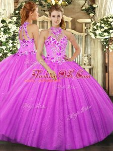 Floor Length Lace Up Vestidos de Quinceanera Fuchsia for Military Ball and Sweet 16 and Quinceanera with Beading and Embroidery