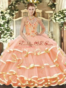 Peach Halter Top Neckline Beading and Embroidery Ball Gown Prom Dress Sleeveless Lace Up